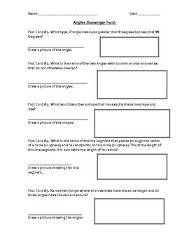 Math Scavenger Hunt Questions Worksheet in 5th grade