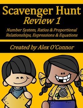 6th Grade Math Scavenger Hunt Review 1 (NS, RP, EE)