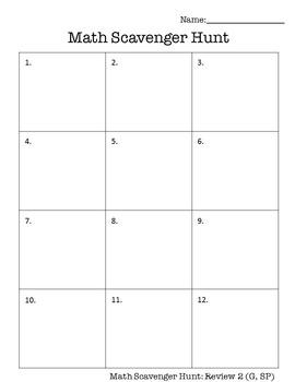 6th Grade Math Scavenger Hunt Review 2 (G, SP)