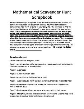 Math Project - Scavenger Hunt Scrapbook