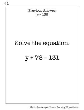 6th Grade Math Scavenger Hunt: Solving Equations