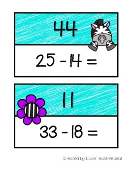 Math Scavenger Hunt: Two-Digit Subtraction (with and without regrouping)