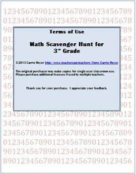 Math Scavenger Hunt for 3rd Grade: A Game for Skills Review