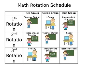 Math Schedule Rotation Chart / Board