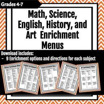 Math, Science, English, Art, and History Enrichment Menus