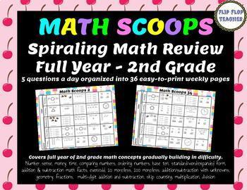 Math Scoops - Full Year of Daily Spiraling Math Review for 2nd Grade