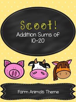 Math Scoot - Addition Sums 10-20 - Farm Theme