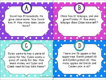 Math Scoot Addition and Subtraction Word Problems by Pirate Monkey