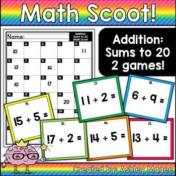 Math Scoot! Addition to 20 (sums to 20)