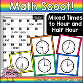 Math Scoot! Mixed Time to Hour and Half Hour (Reading Analog Clocks)