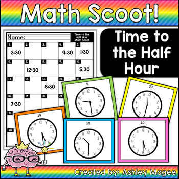 Math Scoot! Time to the Half Hour (Reading an analog clock)