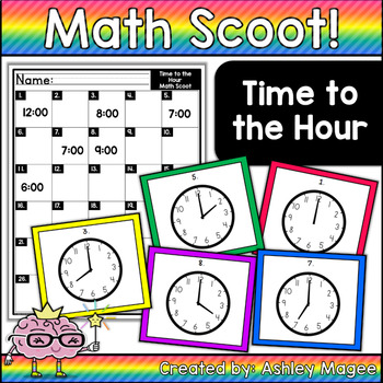 Math Scoot! Time to the Hour (Reading an Analog clock)