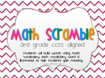 Math Scramble: Math Vocabulary CCSS Aligned