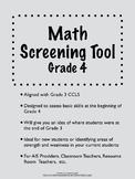 Common Core Math Screening Assessment - Grade 4