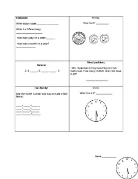 Math Seat Work or Homework