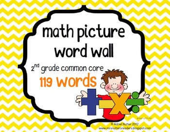 Math Second Grade Common Core Vocabulary Cards - Word Wall Words