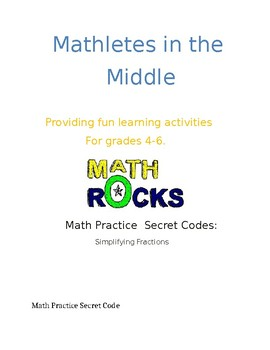 Math Secret Code Activity/ Simplifying Fractions