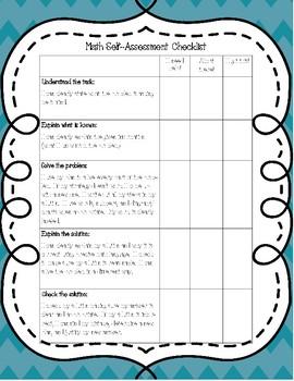 Math Self Assessment Checklist