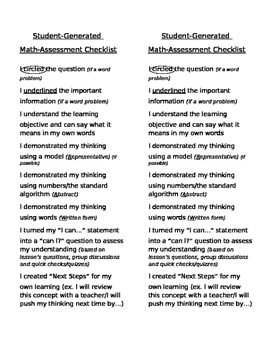 Math Self-Assessment Checklist (CRAW)