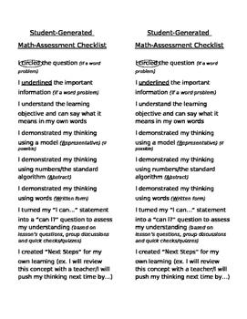 Math Self-Assessment Checklist (CRAW)