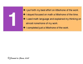 Math Self-Reflection Chart