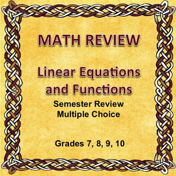 Math Semester Review, Linear Equations and Functions. Multiple Choice, Editable
