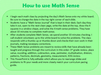 Math Sense - A Year of Daily Spiral Review Math Warm Ups for 4th Graders