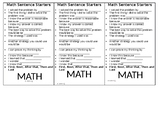 Math Sentence Starter Bookmarks