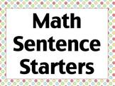 Math Sentence Starters