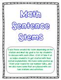 Math Sentence Starters (editable)