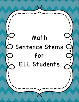 Math Sentence Stems for ELLs