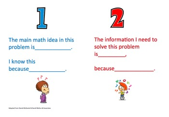 Math Sentence Stems for Problem Solving Process