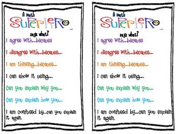 Math Sharing Sentence Starters