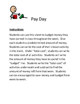 Math Sheet for Pay Day