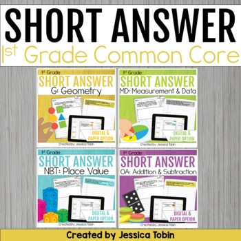 1st Grade Math- Short Answer Writing Word Problems Bundle