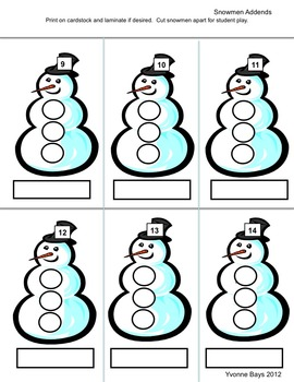 Math Shoveling Snow Addition and Subtraction K-1