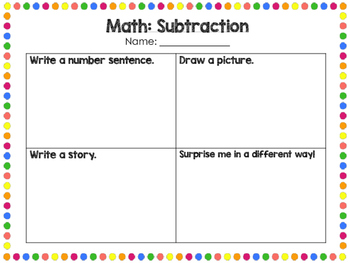 Math- Showing Understanding of Addition/Subtraction/Multiplication/Division