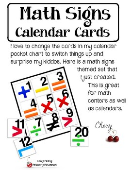 Math Signs Calendar Cards -- Limited Time FREEBIE