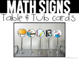 Math Signs Table and Tub Display Cards