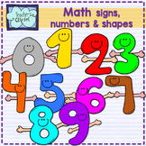 Math Signs, numbers and shapes characters clipart