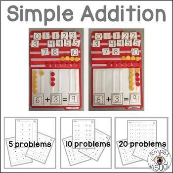 Simple Addition File Folder Activity and Blank Addition Printables