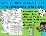 Math Skill Practice with Dominoes and Cards-Count, Compare, Make Ten and MORE!