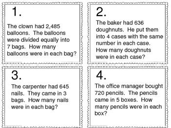Math Skill Review:  25 Skills -- 100 Task Cards -- Set 1