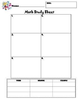 Math Skill Study Sheet