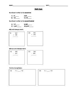 Math Skills Assessment (+, - , x, division, & perimeter)
