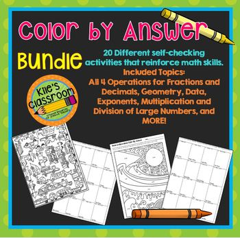 Math Skills Color By Answer for 4th and 5th Grade Math Skills Practice Review