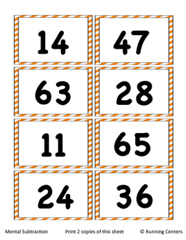 Math Skills Cover Ups - 2-digit Addition and Subtraction Math Mat Games Gr. 2