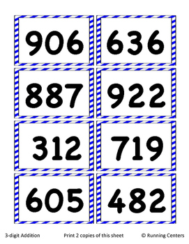 Math Skills Cover Ups - 3-digit Addition and Subtraction Math Mat Games Gr. 2