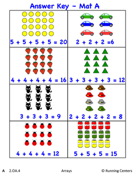 Math Skills Cover Ups Gr. 2 Arrays Math Mat Games - Arrays and Repeated Addition