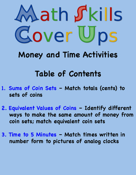 Math Skills Cover Ups - Gr. 2 Money & Time Math Mat Games - Coins and Clocks